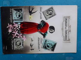 CPA -  ITALIE - LINGUAGGIO  DEI  FRANCOBOLLI -  Timbres, Femme, Oiseau... - Stamps (pictures)
