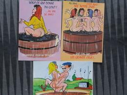 TI -LOT DE 3 CARTES - Thème - VINS - Illustrateur Type Alexandre - C EST AVEC DES PETITS CULS QUE L'on Fait Grands Crus - Künstlerkarten