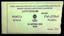Football Tickets -  F.C. DILA  Gori  V    AARHUS  Gymnastikforening ,  2012 ,  EURO - CUP. - Biglietti D'ingresso