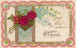 SOUVENIR D'AMITIÉ  Carte Gaufrée  Roses En Tissu , Myosotis. - Saint-Catherine's Day