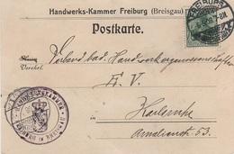 Postkarte Ganzsache Deutsches Reich Kaiserreich Stempel Handwerkskammer Handwerks Kammer Freiburg Breisgau 1908 - Briefe U. Dokumente