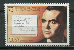 Cuba 1998 / Spanish Writer Federico García Lorca MNH Escritor / Schriftsteller / Cu8600  C3 - Cuba