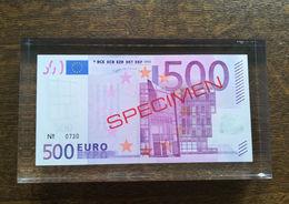 ESSAI Billet 500 EURO Dans Bloc Plexi SPECIMEN De La BCE Probe Testnote Test - EURO