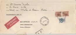 Mola Di Bari. 1971. Annullo Corno Di Posta MOLA DI BARI (BA) , Su Raccomandata Espresso A.R., Con Siracusane 90 X2 + 200 - 6. 1946-.. Repubblica