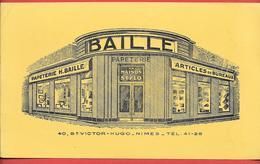 Buvard Ancien H. BAILLE - PAPETERIE, LA MAISON DU STYLO Bd Victor Hugo à NIMES - Buvard Lithographié - Papeterie