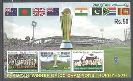 PAKISTAN 2017 ICC CHAMPIONS TROPHY CRICKET SOUVENIR SHEET MNH - Pakistan