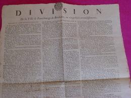 """Gironde / Affiche 1790 """"DIVISION DE LA VILLE & FAUBOURGS DE BORDEAUX 28 Arrondiss.> Assemblées Municipales. - Posters"""