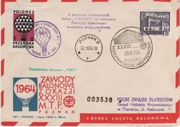 Ballonpost Ballon Post Poczta Balonowa Zawody Balonowe Poznan 1964 Polonez Przesylka Znaczek Pocztowy Balloon Poste Mail - Poste Aérienne