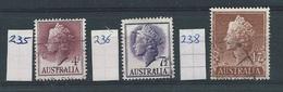 Australië  Y/T    235 - 236 -238  (O) - 1952-65 Elizabeth II : Ed. Pré-décimales