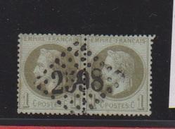 N 25 / Paire De  1 Centime Bronze / Oblitération N 2598 Nancy - 1863-1870 Napoleon III With Laurels