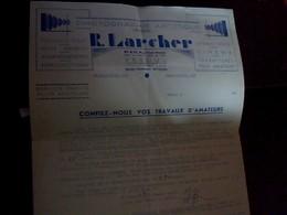 Facture Photographe Artistique Larcher A Vesouls Annee 194? - Petits Métiers