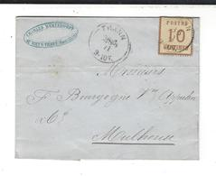 Lettre 1871 Tp  YT 5 Alsace Lorraine Cad  28.6.71 Thann Pour Mulhouse - France