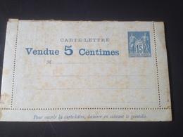 1887 Type Sage Carte Lettre Avec ANNONCES Et Carnet Publicitaire Non Utilisée - Postwaardestukken