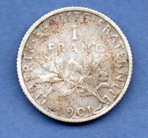 Semeuse -  1 Franc 1901  -  état  TB+ - H. 1 Franc