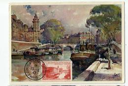 Carte Maximum PARIS La Seine & Pont St Michel  (1947 ) - Cartoline Maximum