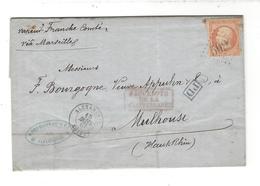 """Lettre 1867 Cad Alexandrie  Pour Mulhouse TP Yt 23 """" Paquebots De La Méditerranée """" Vapeur Franche- Comté - 1862 Napoleon III"""