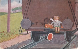 Künstlerkarte AK Unbekannter Künstler Eisenbahn Zug Waggon Kind Puppe Jim Knopf Malerei Signiert H S B Stempel Hallstadt - Künstlerkarten