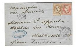 Lettre  1859 Cad Alexandrie  Pour Mulhouse TP Yt 13 - 16  Vapeur Anglais Via Marseille - 1862 Napoleon III