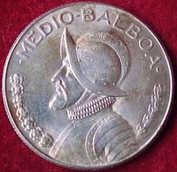 PANAMA 1/2 Balboa 1966 , ARGENT , Armes Nationales / Vasco Nunez  , MEDIO BALBOA Silver Coin   Prix Fixe - Panama