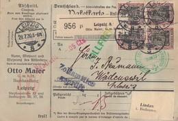 DR Paketkarte Mef Minr.16x 91II Leipzig 28.7.20 Perfins O.M. - Deutschland