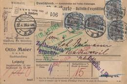DR Paketkarte Mef Minr.16x 104 Leipzig 22.4.20 Perfins O.M. - Deutschland
