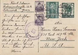 DR GS Minr.P268 Mit österr. Frankaturg Graz 9.4.38 Gel. In USA Nebenstempel Ansehen !!!!!!! - Briefe U. Dokumente