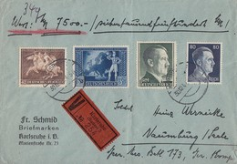 DR Wertbrief Mif Minr.780,798,799,820 Karlsruhe Gel. Nach Naumburg - Briefe U. Dokumente