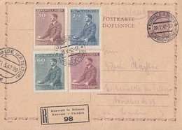 Böhmen Und Mähren GS Minr.P9 Zfr. Minr.85-88 Kunwald (Böhmen) 20.5.42 - Böhmen Und Mähren