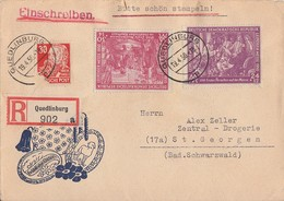DDR R-Brief Mif Minr.248,249 SBZ Minr.222 Quedlinburg 19.4.50 - DDR