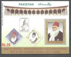 PAKISTAN  200TH BIRTH ANNIVERSARY SIR SYED AHMED KHAN SOUVENIR SHEET MNH - Pakistan