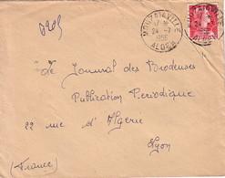 ALGERIE - MARIANNE DE MULLER - MOUZAIAVILLE - LE 24-7-1956 - ENVELOPPE POUR LYON. - Otros