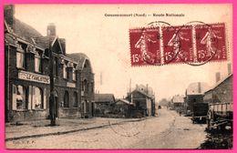 Gouzeaucourt - Route Nationale - Le Familistère - Charrette - Animée - Coll. U.P.P. Union Phototypique Parisienne - 1928 - Marcoing