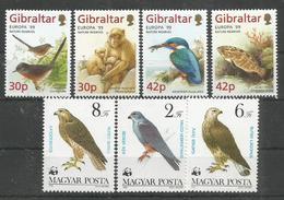 2 Pcs GIBRALTAR - HUNGARY - MNH - Animals - Birds - WWF - Europa-CEPT - 1999 - Pájaros
