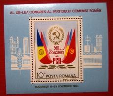ROMANIA 1984, The 13th Congress Of The Romanian Communist Party, Block Perf - 1948-.... Républiques