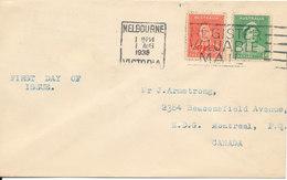 Australia Cover Melbourne 1-8-1938 Coronation Set Sent To Canada - 1937-52 George VI