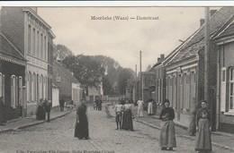 Moerbeke-waas  Damstraat Bien Animée Cycliste Circulé En 1912 - Moerbeke-Waas