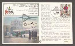 50th Anniversary First Flight England Australia By Woman Amy Johnson 1930 Commemorative Flown Cover Concorde Signed 1980 - Airplanes