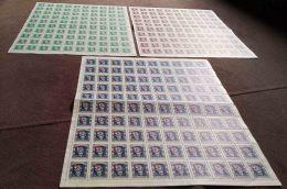 Yugoslavia Republic 1948 Mi#539-541 Mint Never Hinged, Full Sheets Of 100, Rare In This Form, Cv1000 Eur+, Full Good Gum - 1945-1992 Socialistische Federale Republiek Joegoslavië