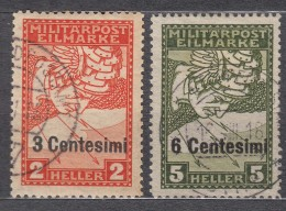 Austria Feldpost Occupation Of Italy 1918 Mi#24-25 Used - 1850-1918 Imperio