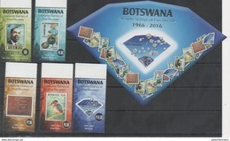 BOTSWANA, 2016, MNH, STAMP ON STAMP, FAVOURITE STAMPS OF FIVE DECADES, BIRDS, DIAMONDS,5v+S/SHEET - Timbres Sur Timbres