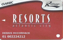Resorts Casino - Atlantic City NJ - Slot Card - PG Mark Over Mag Stripe - 5 Logos Across Bottom Reverse - Casino Cards