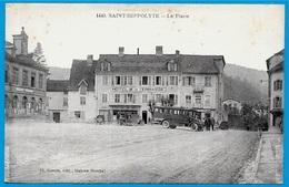 CPA 25 St SAINT-HIPPOLYTE Doubs - La Place (Autobus) ° Cl. Simon édit. Maiche N° 1440 - Saint Hippolyte
