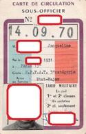 CARTE DE CIRCULATION SNCF  Sous-Officier  TARIF MILITAIRE - Transportation Tickets