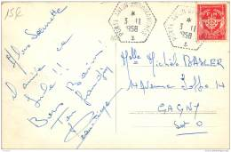 CP Du Porte Avion Arromanches Avec Cachet Postal Poste Maritime De 1958 En Franchise Militaire - - Marcophilie (Lettres)