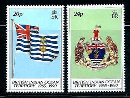 """British Indian Ocean Territory      """"Flagf & Arms""""     Set   SC# 108-09     MNH - British Indian Ocean Territory (BIOT)"""