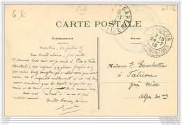 Cachet Train Sanitaire Semi Permanent Du MIDI N°12 Sur Carte De Moulins 1915 - Marcophilie (Lettres)