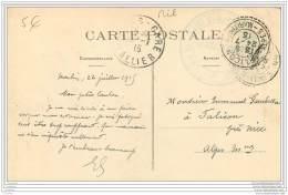 Cachet Du Train Sanitaire Semi Permanent Du MIDI N°12 Sur Carte De Moulins 1915 - Marcophilie (Lettres)