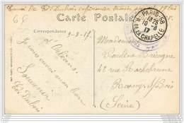 Cachet Du Train Sanitaire Semi Permanent N°17bis Sur Carte D'Orleans 1917 - Marcophilie (Lettres)