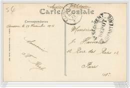 Cachet Du Depot Du 4eme Regiment D'Infanterie Sur Carte D'Auxerre En 1915 - Marcophilie (Lettres)