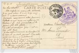 Cachet De La 3eme Section Automobile Marocaine A Marseille En 1916 - Marcophilie (Lettres)